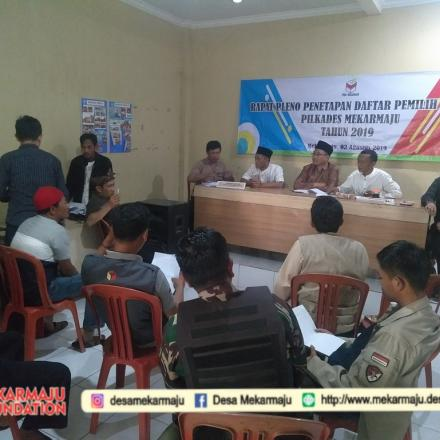 Rapat Pleno Penetapan Daftar Pemilih Tetap Pilkades Mekarmaju Tahun 2019